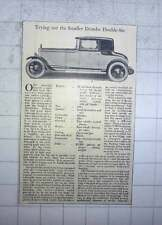 1928 Trying Out The Smaller Daimler Double 6, Price £1300