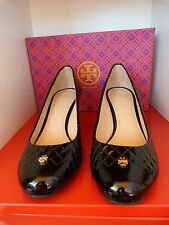 NEW TORY BURCH £250 BLACK LEATHER KENT WEDGE SANDALS / SHOES .. UK 8   US 10