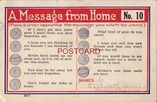 1920 A MESSAGE FROM HOME No. 10 place a cross opposite message you wish to send