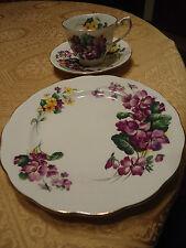 Vtg 3pc Royal Standard China Lavender Lady Cup Saucer Dessert Plate Violets