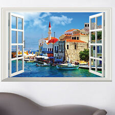 Tropical coastal City Ocean boat Decal room home Decor Wall Stickers Art Murals