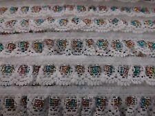 White Gathered with green and gold shimmer Lace Trimmings 3/4 inch 2 metres