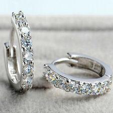 Women Elegant Crystal Zircon Earrings Silver Gold Plated Ear Hoops Earring