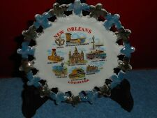 NEW ORLEANS LOUISIANA COLLECTOR PLATE PORCELAIN SPOKED WHEEL GOLD & BLUE VINTAGE
