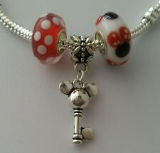 3pcs Disney Mickey Mouse Dangle Charm Bead European Murano Glass