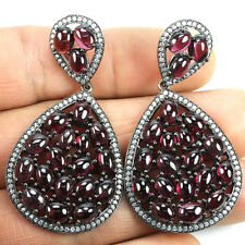 Sterling silver 925 Huge Genuine Cabochon Deep Pink Rhodolite Garnet Earrings