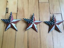 "(Set of 3) PATRIOTIC AMERICANA BARN STARS 3.5"" PRIMITIVE RUSTIC DECOR"