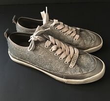 Guess Silver/White Logo Gray Glitter Tennis Shoes Lace Up Sneakers SZ 6 Women's