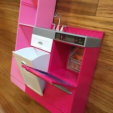 BARBIE DOLL DOLLHOUSE KITCHEN, Fridge HAS 2 shelves, not pictured...Missing Door