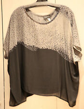 NWT Eileen Fisher Black and Gray 100% Silk Crepe Boxy Ballet Neck Blouse sz M FS