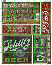 1009 DAVE'S DECALS HO DECALS BEER SODA TIRES OVERALLS OLD BUILDING SIGNS AD SET