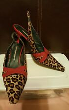 "Donald J Pliner ""LOIS"" Pony Hair & Red Leather Heels - 8 Medium"