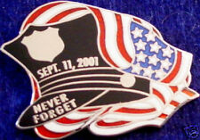 NEVER FORGET 9/11 PIN Police HAT Left USA Flag 911 Policeman Tribute Memorial