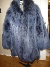 Gorgeous Unique Unisex FENDI Fox Fur Indigo Jacket / Coat, Silk Lined Men Women