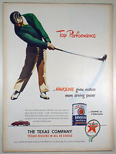Vintage 1947 TEXACO HAVOLINE MOTOR OIL - Large Magazine Print Ad - GOLF