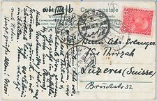 ISRAEL Austrian Levant - POSTAL HISTORY: CARD to SWITZERLAND through EGYPT 1910