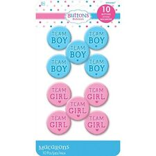 Pack of 10 Team Girl/Team Boy Buttons Baby Shower/Gender Reveal Party