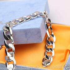 """9"""" 12MM Wide Thick Cuban Curb Chain Solid Mens Bracelet 24K White Gold Filled"""