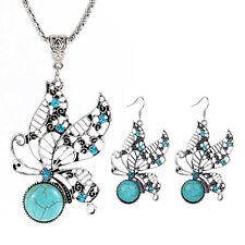 Women's Jewelry Butterfly Turquoise Tibetan Silver Necklace Pendant Earrings Set