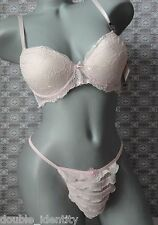 "Crossdress Men Pink Padded Bra with Sissy Pouch Ruffled Panty 30""- 38"" 36C"