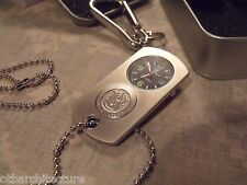 """Silver"" Dog Tag Watch, Smith & Wesson, w/ Carabiner and Metal Storage Box"