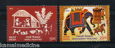 India 2012 MNH 2v, Elephants, Shekhawati, Warli, Traditional Painting  -Ea14