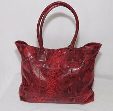 NWT AUTHENTIC HALOGEN Red Python Embossed Leather Tote/Shoulder Bag