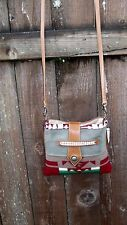Pendleton Wool Fabric Leather Messenger Cross Body Purse Bag Native American