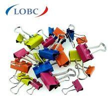 24 x DELI Assorted Metal Fold Back Binder Clips Different Colours and Sizes