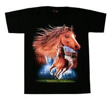 Pferde T-Shirt: PFERD braun, Gr. XXL, 2XL,Cowboy Western Indianer Reiter, Fohlen