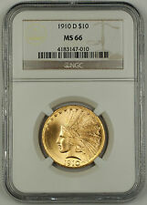 1910-D Indian Ten Dollar $10 Eagle Gold Coin NGC MS-66 GEM BU UNC
