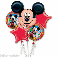 5 Piece Disney's Red Star Mickey Mouse Foil Balloon Bouquet Party Decoration