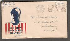 1943 WWII patriotic cachet cover Sgt E L Russell Keesler Field MS to NY