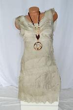 Kleid Volantkleid Empire 100% Seide Edel Rüschen ärmellos beige Gr. 36