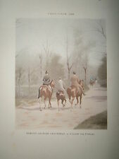 Gravure 19° 1899 couleur Peinture Grandjean l'allée des poteaux bois de Boulogne