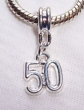 Number 50 Fiftieth Birthday Age Dangle Bead fits Silver European Charm Bracelet