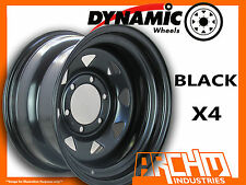 SET OF 4 BLACK 4X4 DYNAMIC SUNRAYSIA WHEELS 15X8 6/139.7 OR 5.5 4WD RIM HILUX