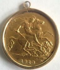 1913 King George V Solid Gold Half Sovereign Coin in 1890 9ct Gold Pendant Mount