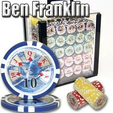 New 1000 Ben Franklin 14g Clay Poker Chips Set with Acrylic Case - Pick Chips!