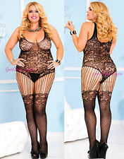 Plus Size FLORAL LACE TEDDY Style Bodystocking STOCKINGS Crotchless SPANDEX