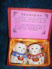 Vintage Hui Shan Mountain Clay Boy & Girl Mud Statues - Happiness & Peace -NIB