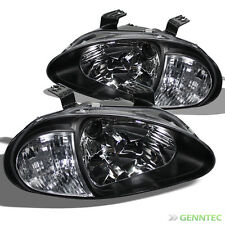 For 1993-1997 Honda Del Sol 2in1 Euro Corner Headlights Head Light Blk Set Lamp
