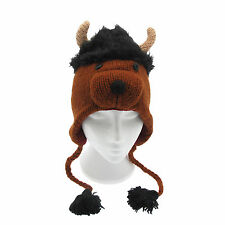 Fun Shaggy Bull Handmade Winter Woollen Animal Hat Fleece Lining One Size UNISEX