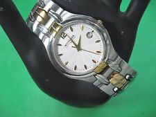 WITTNAUER SWISS 12B01 MEN'S CASUAL WATCH S/S & G/P WHITE DIAL ANALOG/DATE MODERN