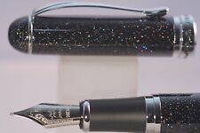 New Jinhao x750 Black Glitter Medium Fountain Pen with Chrome Trim, UK Seller