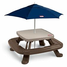 Little Tikes KIDS PICNIC TABLE, Foldable 4-Sided Market Umbrella PICNIC TABLE