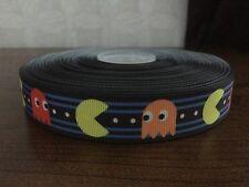 "1m pacman rétro jeu arcade labyrinthe imprimer 7/8"" gros-grain ruban"