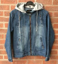MENIRGELI Men's denim casual hooded jacket size small