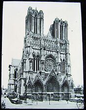Glass Magic lantern slide WW1 REIMS CATHEDRAL BEFORE BOMBARDMENT C1914 FRANCE
