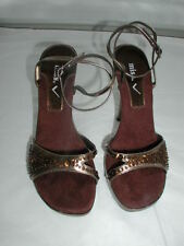 MISS V  GOLD & BROWN SEQUINNED STILETTO SANDALS  size 5
